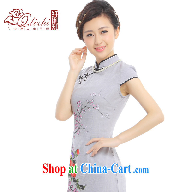 Slim li know dyeing summer 2014 summer New China wind retro elegant cotton Ma short cheongsam dress Q 62,396 - 1 glass gray XXL