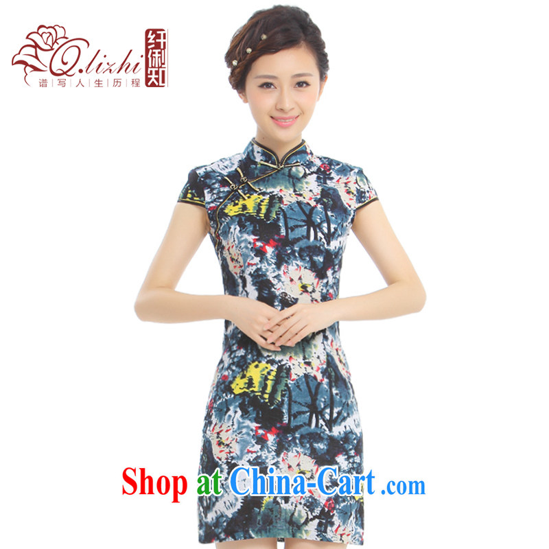 Slim li know mini-love summer 2015 new units the cheongsam Chinese wind retro elegant improved cheongsam dress Q 62,391 - 2 colorful mini XXL.