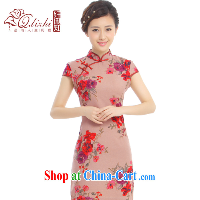 Slim li know choreographer summer 2015 new elegant Chinese style retro cotton the cheongsam stylish improved Q 62,391 - 3 ochre red floral XXL