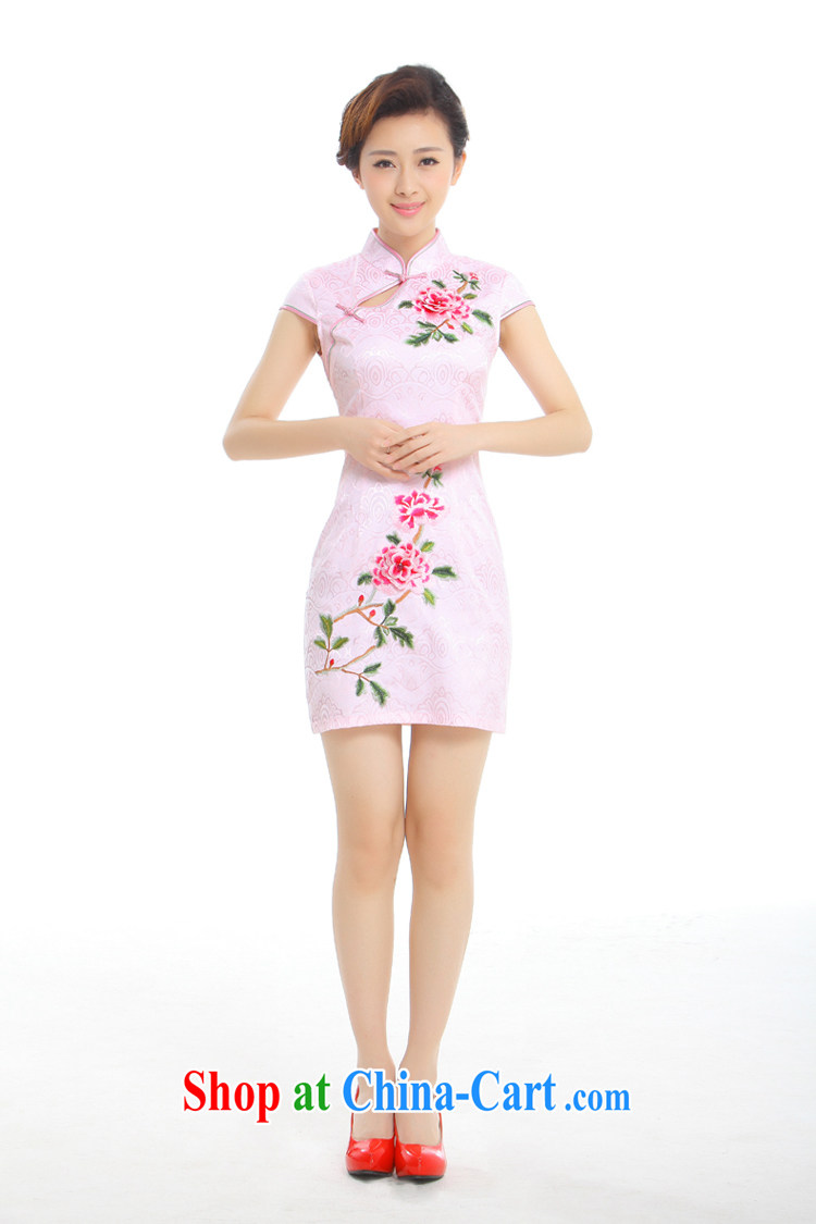 Slim li know on which take-off Summer 2015 new improved Stylish retro embroidery China wind cheongsam dress Q 1013 - 96 hazy blue M pictures, price, brand platters! Elections are good character, the national distribution, so why buy now enjoy more preferential! Health