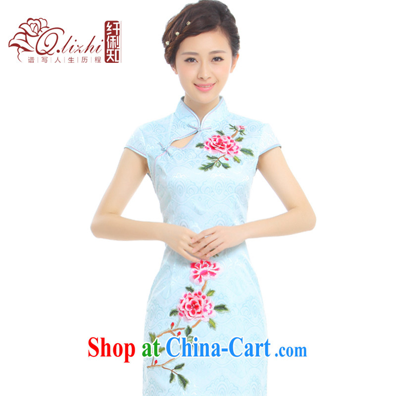 Slim li know on which take-off Summer 2015 new improved Stylish retro embroidery China wind cheongsam dress Q 1013 - 96 hazy blue M