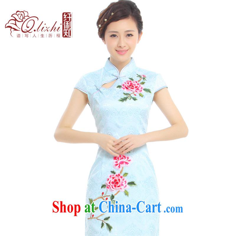 Slim li know on which take-off Summer 2015 new improved Stylish retro embroidery China wind cheongsam dress Q 1013 - 96 hazy blue XXL