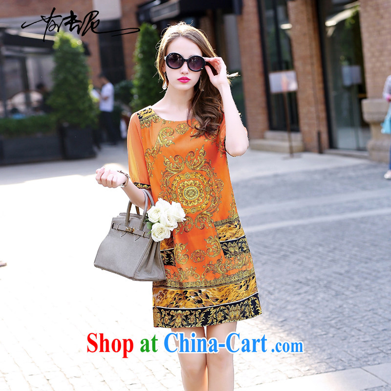 Windsor, 2015, standard female silk sauna silk dresses in summer long long skirt big orange XXL