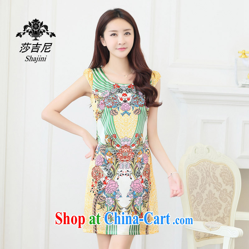Windsor, 2014, spring and summer sauna in silk long V collar damask stamp high quality heavy Silk Dresses female yellow XXL
