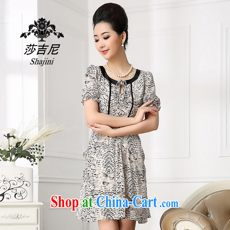 Elizabeth Gil, summer 2014 silk dresses in Europe and the upscale silk Korean sauna Silk Dresses beauty package and female light gray XXL