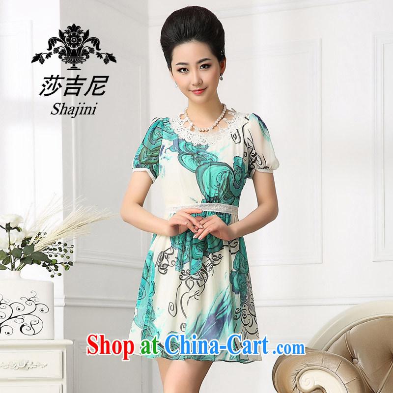 Windsor, 2014, silk stamp dresses Korean summer style dress lace stitching sauna silk skirt green XXL