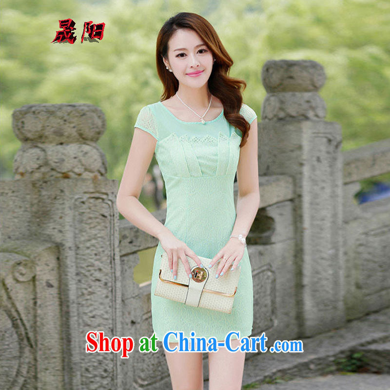Sung Yang 2015 new summer Korean beauty with half sleeve lace hot drill China wind fashion cheongsam dress Green Green L