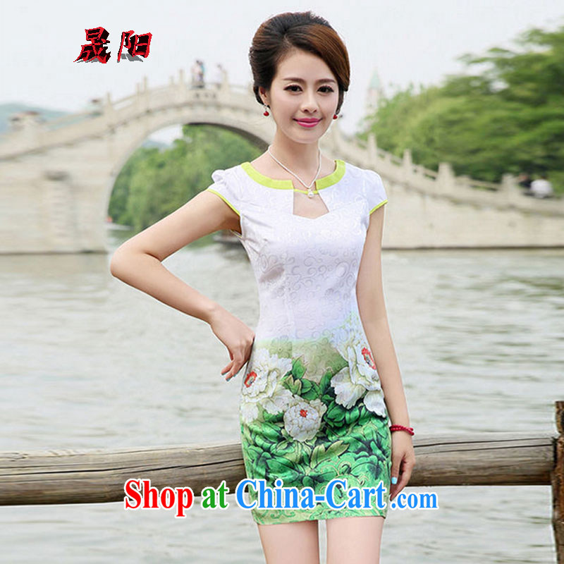 Sung Yang 2014 new summer Korean Beauty half sleeve Princess stamp duty for China wind cheongsam stylish dresses green peony flower XL