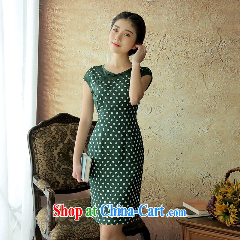 The proverbial hero once and for all, as soon as possible the new summer, sauna silk stamp antique cheongsam dress stylish improved cheongsam dress green 2 XL