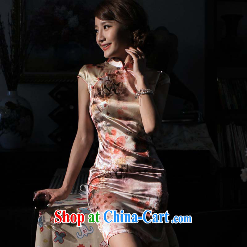 light quality 2014 new, Retro beauty cheongsam dress summer stylish improvements, short-sleeved cheongsam dress Nan Mei XXL