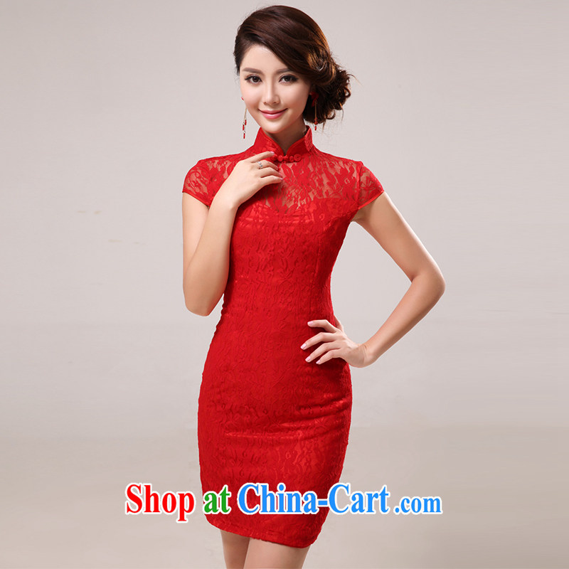 The United States and the 2015 spring and summer wedding dresses bridal toast clothing cheongsam dress short red dress Chinese Antique improved lace cheongsam Q 0006 red XXL