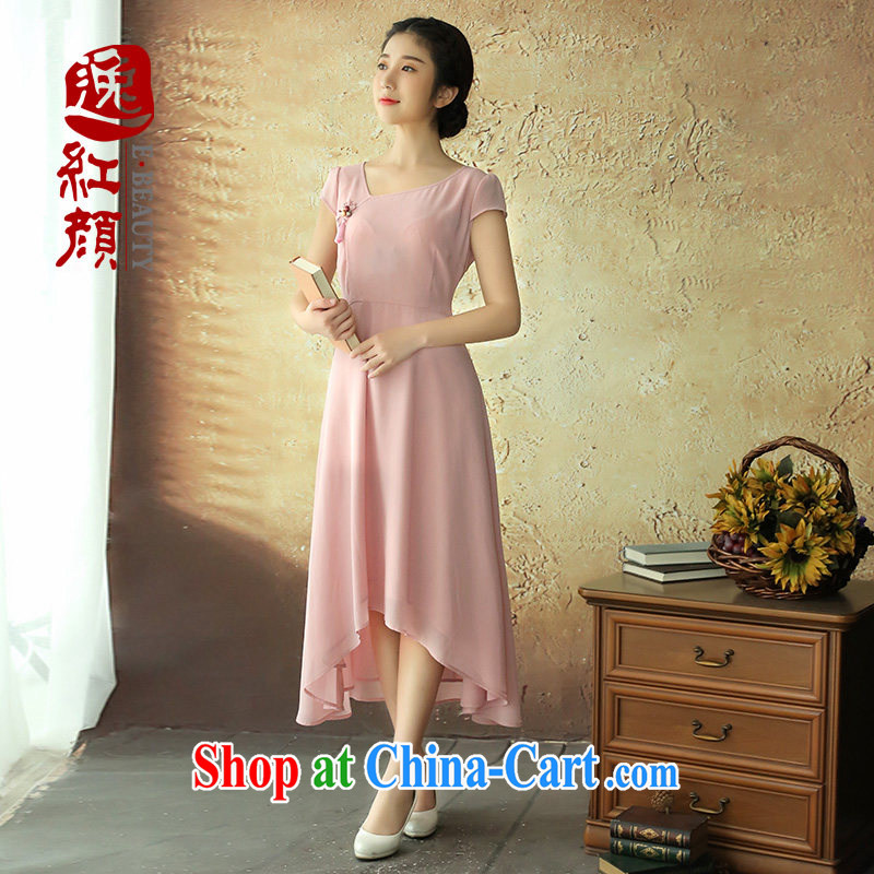 once and for all is fatally jealous Philip snow woven dresses 2014 summer new women skirt China wind female ethnic wind pink S - pre-sale 25 days