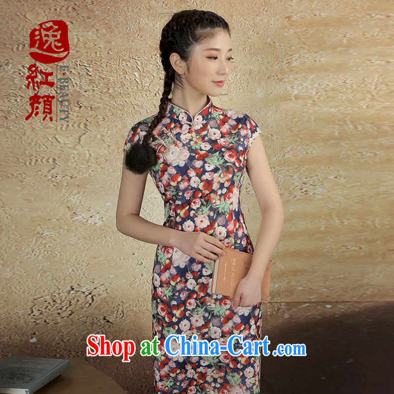 once and for all and fatally jealous fruit Song snow woven retro new cheongsam dress summer cheongsam dress improved daily fashion blue XL