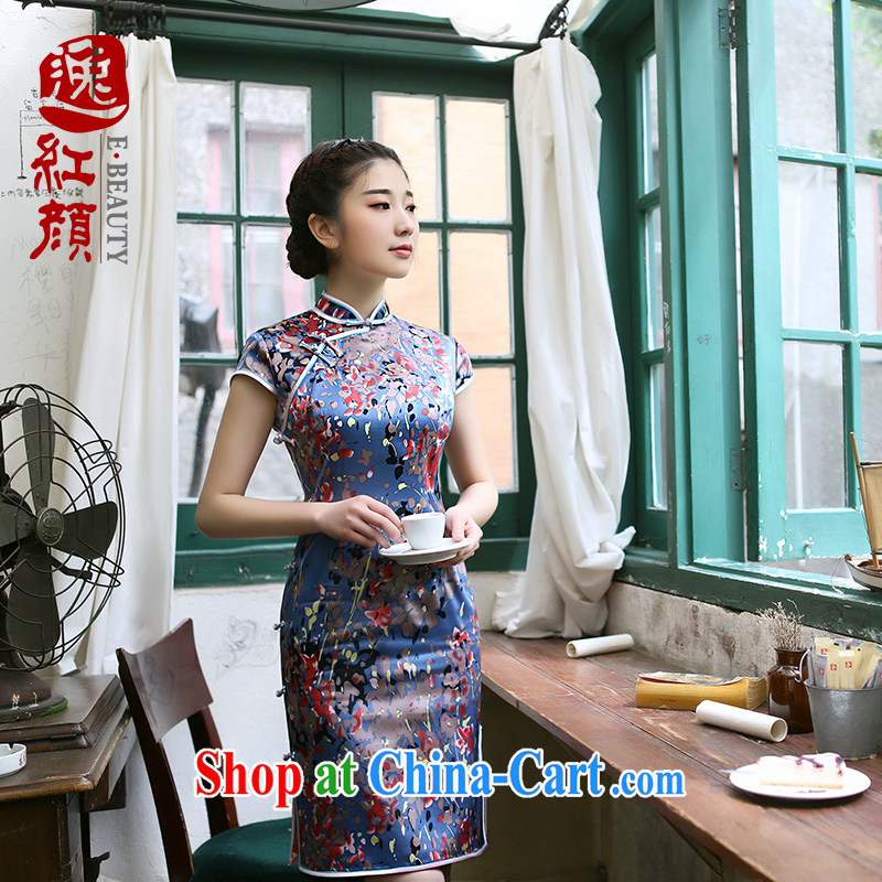 once and for all at sea without Wind Flower Silk Cheongsam upscale retro 2015 summer new cheongsam dress improved daily stylish blue 2 XL