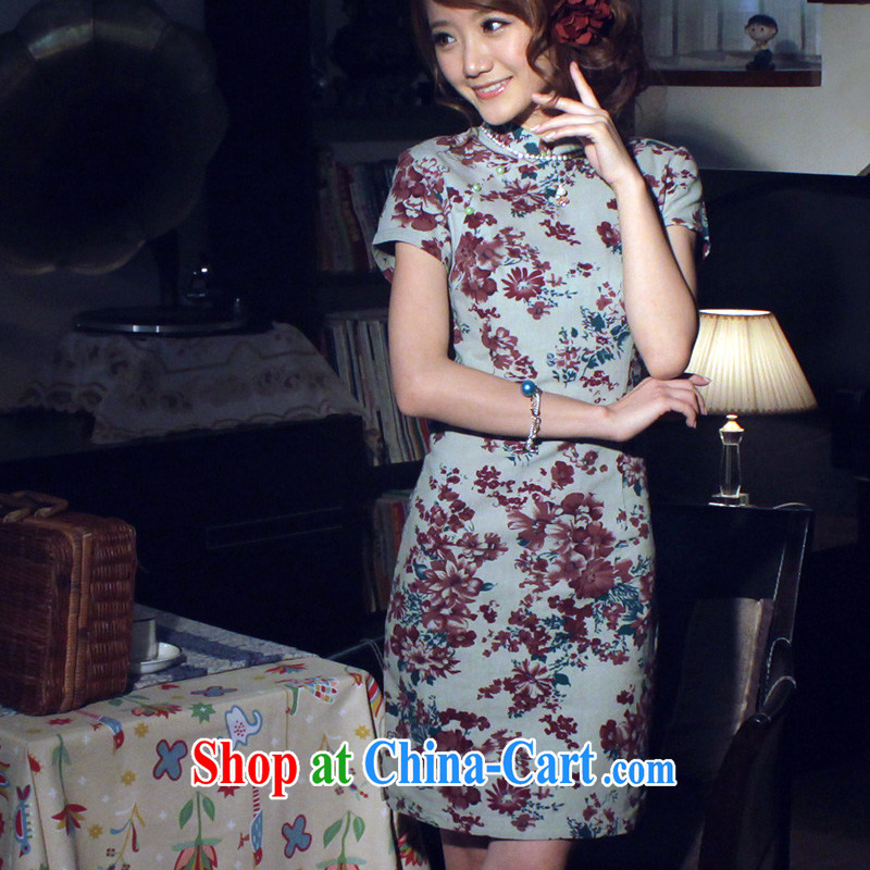 light quality retro improved stylish summer cotton Ma dresses ethnic wind cheongsam dress new linen short dresses, red L
