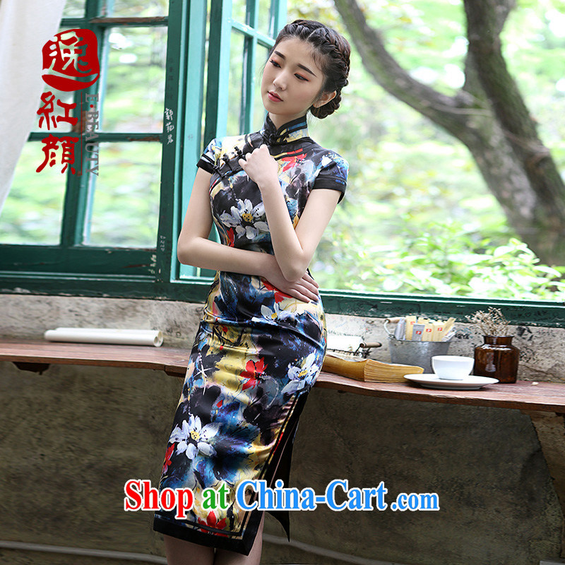 once and for all exposed fatally jealous Revlon stretch Silk Cheongsam upscale retro summer new cheongsam dress improved yellow L