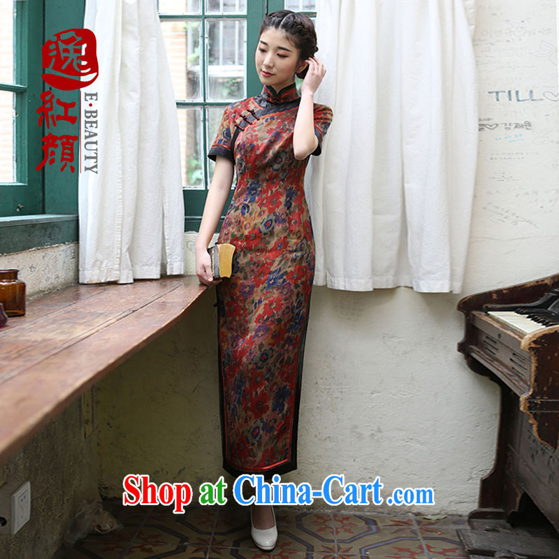 once and for all - begonia fatally jealous no fragrant cloud yarn Silk Cheongsam upscale retro�summer new cheongsam dress improved red 2 XL - October 30 future delivery
