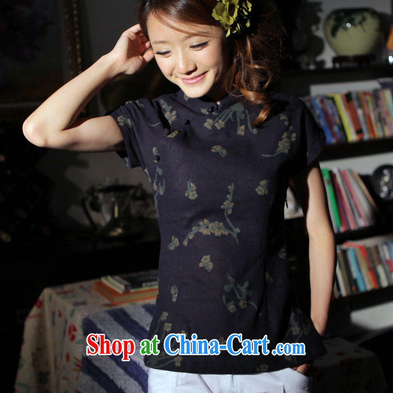 Light of summer, cotton the female Chinese T-shirt retro improved Chinese linen ethnic wind cheongsam shirt Navy XXXL