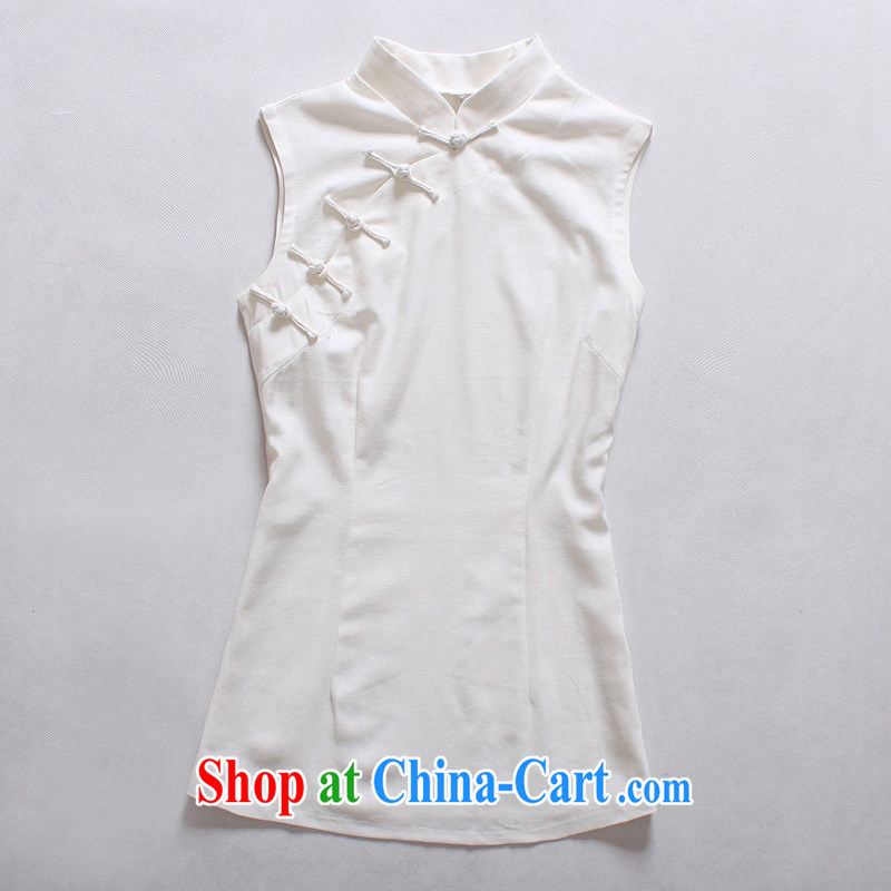 light quality cotton the female Chinese T-shirt retro improved Chinese linen Ethnic Wind-tie sleeveless dresses T-shirt white M