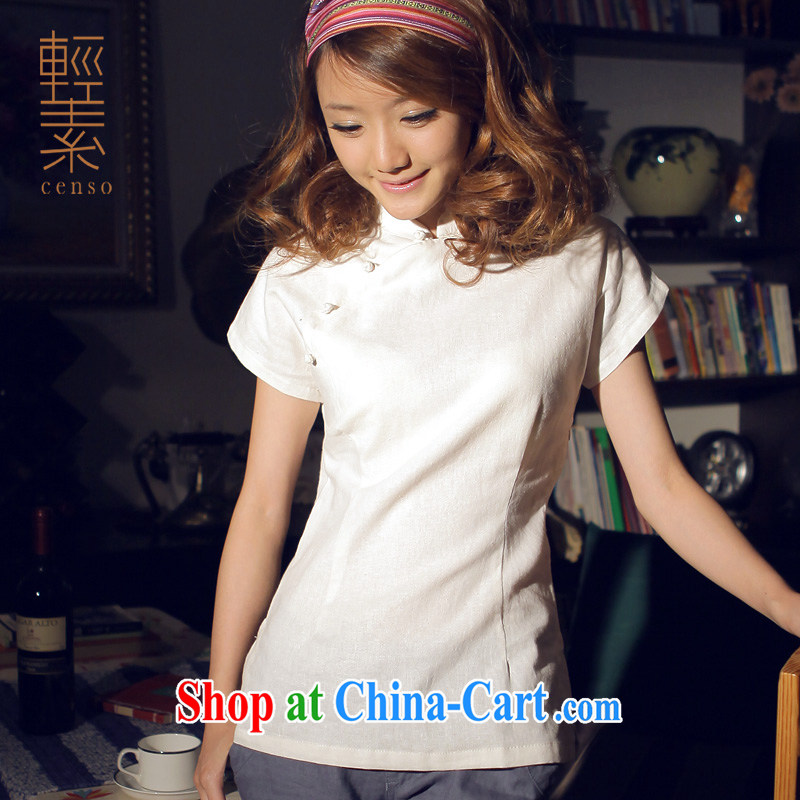 Light of Yau Ma Tei cotton dress-fasteners Chinese T-shirt retro improved Chinese Nation Ms. wind warm white robes T-shirt XXL