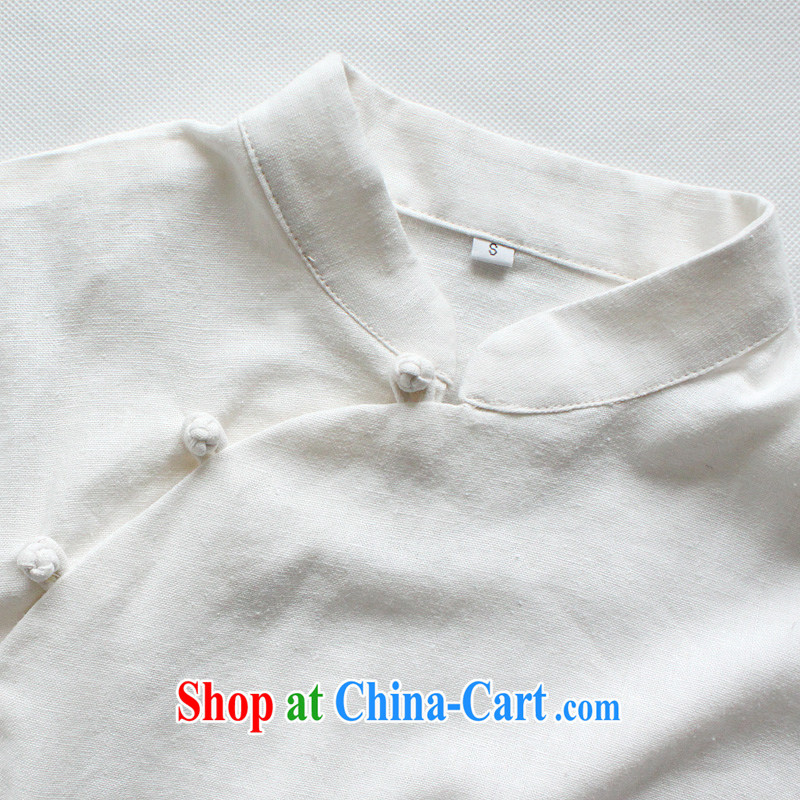 light quality cotton the women detained the Chinese T-shirt retro improved Chinese, ethnic wind warm white robes T-shirt XXL, light quality, and shopping on the Internet