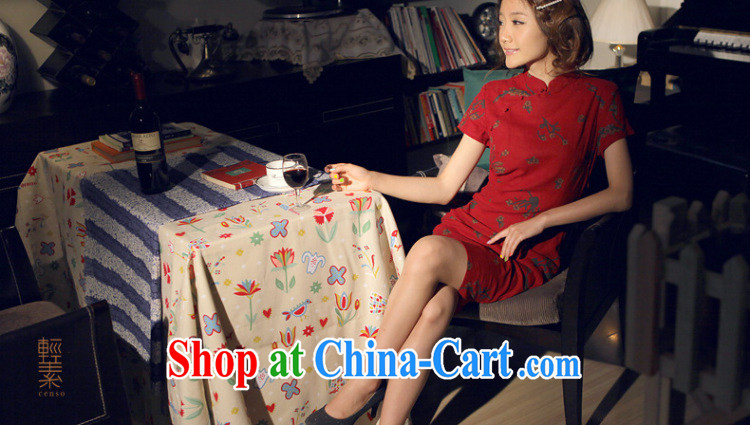 Light of Yau Ma Tei cotton Ethnic Wind female new retro improved women cultivating cheongsam dress daily linen dresses Samui dark red XL pictures, price, brand platters! Elections are good character, the national distribution, so why buy now enjoy more preferential! Health