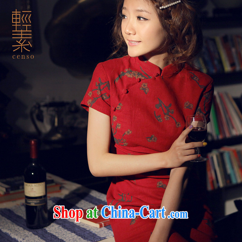 Light of Yau Ma Tei cotton Ethnic Wind female new retro improved women cultivating cheongsam dress daily linen dresses Samui dark red XL