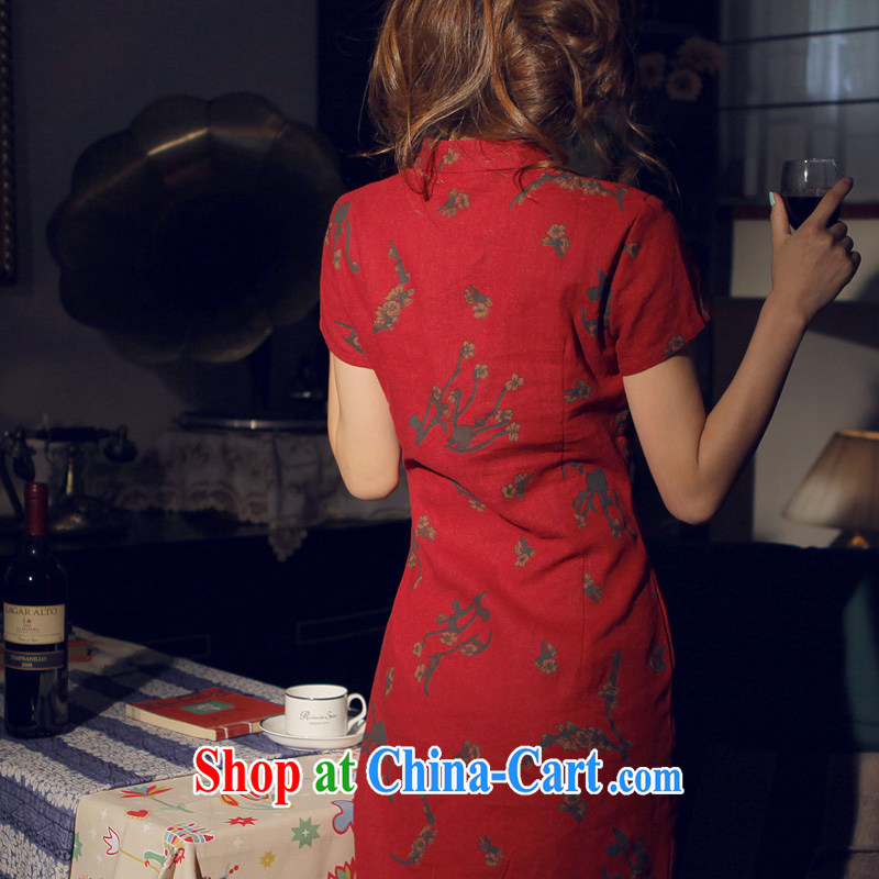 Light of Yau Ma Tei cotton Ethnic Wind female new retro improved women cultivating cheongsam dress daily linen dresses Samui dark red XL, light quality, and on-line shopping