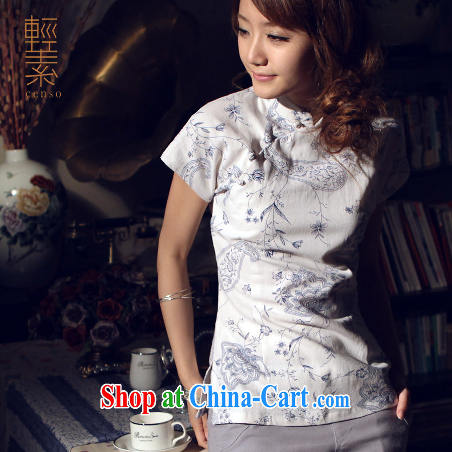 light quality cotton the national style in a new, improved antique Chinese Tang with blue lotus linen dresses Korea T-shirt L