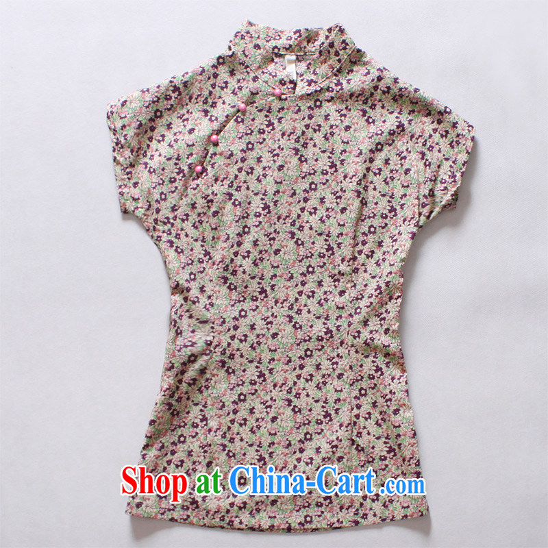 light quality Ethnic Wind female new Chinese floral Chinese T-shirt retro improved cotton robes T-shirt in purple XXXL