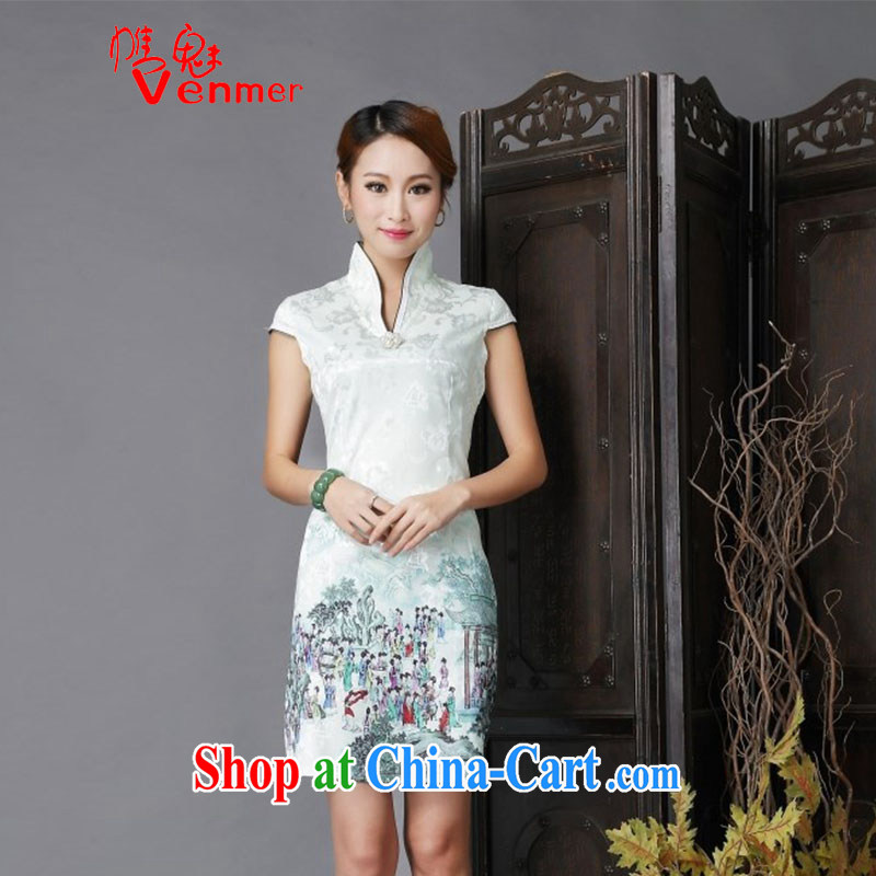 Clearly, Venmer Ethnic Wind New Tang is stylish and improved Daily Beauty sexy cheongsam dress 6635 light green XL