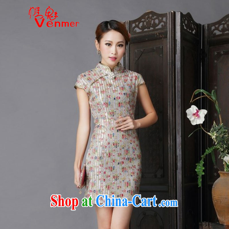 Clearly, Venmer new show annual marriage dresses retro improved floral bows serving daily short dresses of 6631 red XL