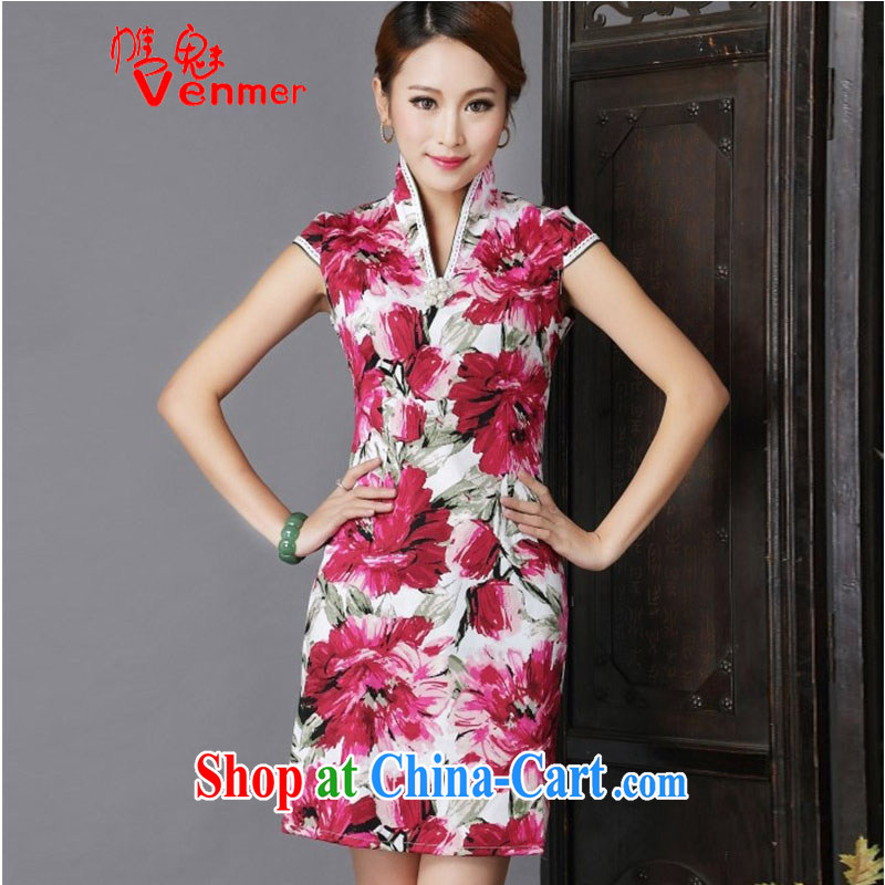 Clearly, Venmer New floral cheongsam dress stylish improved Chinese qipao cheongsam dress suit 4449 XL