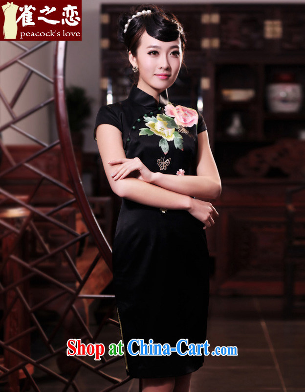 Bird lovers of drop-off time of the 2015 spring new retro short-sleeved embroidered heavy Silk Cheongsam QD 450 black XL