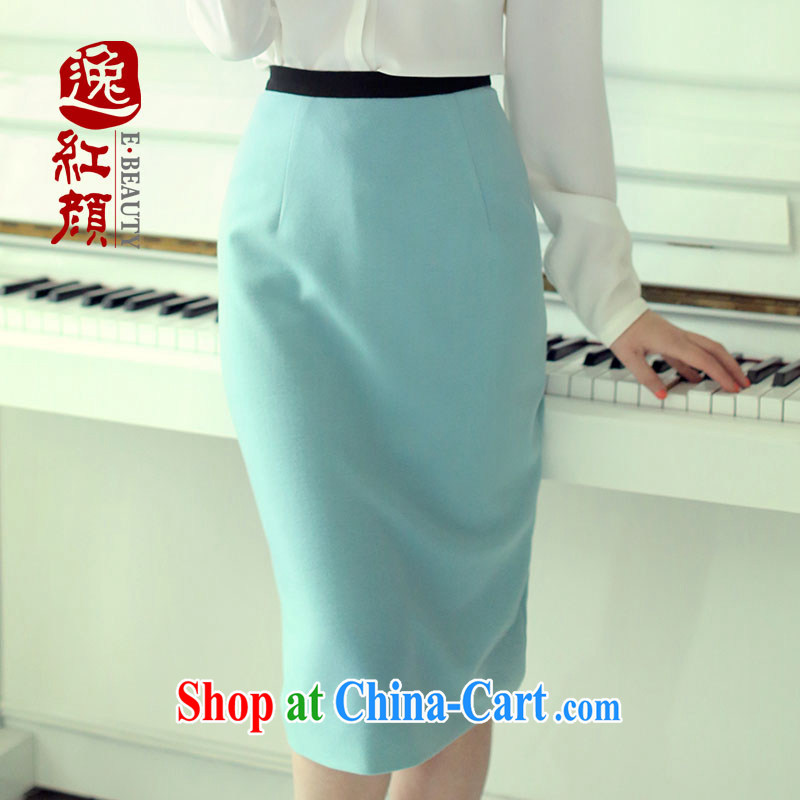 The proverbial hero once and for all as soon as possible city dumping solid color knitted fabric pencil skirt new summer sexy elegant body skirt blue XL