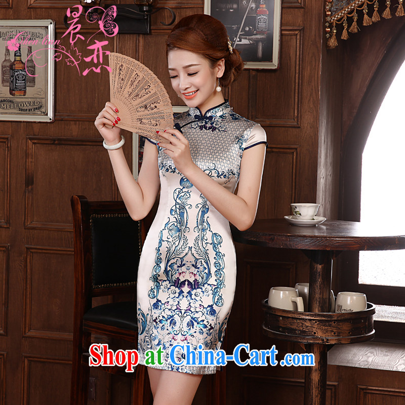 Morning, dresses new 2014 summer retro improved stylish sauna silk Silk Cheongsam dress short, blue and white porcelain blue XXL