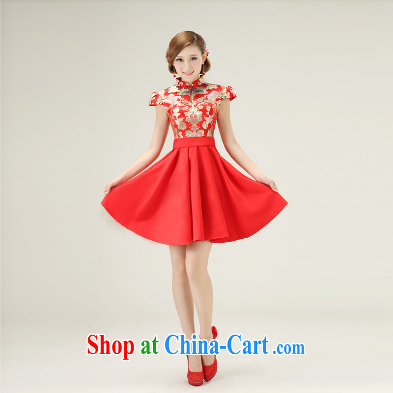 In accordance with the preceding yarn new 2015, short dresses, summer dresses retro bridal bridesmaid toast red outfit. size will not be returned.