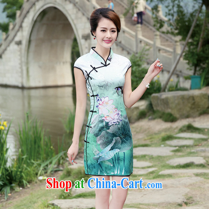 2015 summer new Chinese Antique Ethnic Wind dress ladies dress short-sleeved, stamp duty for cultivating Manchu cheongsam dress Black Lotus XL