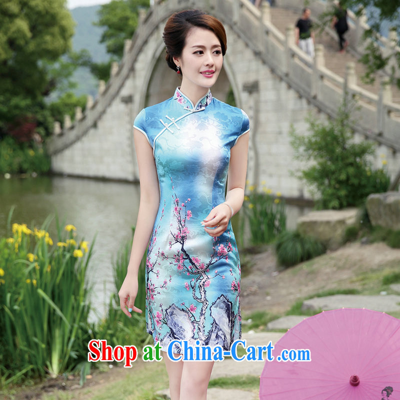 2015 summer new Chinese Ethnic Wind retro Manchu cultural dress lady, short-sleeved stamp beauty side the forklift truck dress qipao Phillips XL