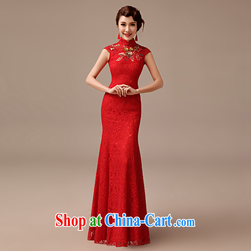 2015 spring and summer new bride toast wedding dresses long crowsfoot beauty lace cheongsam toast serving red XXL