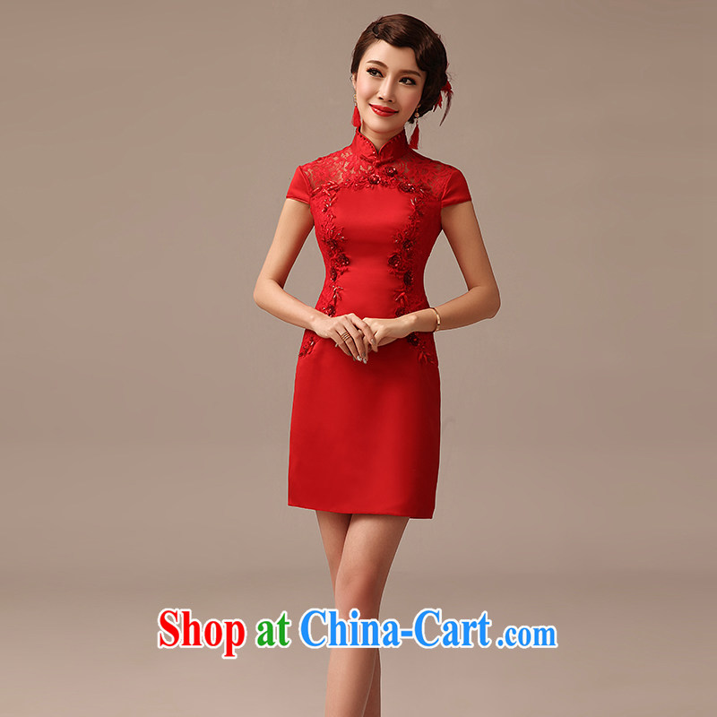 2015 spring and summer new bride toast cheongsam short red stylish improved cultivation biological empty parquet drill outfit red XL