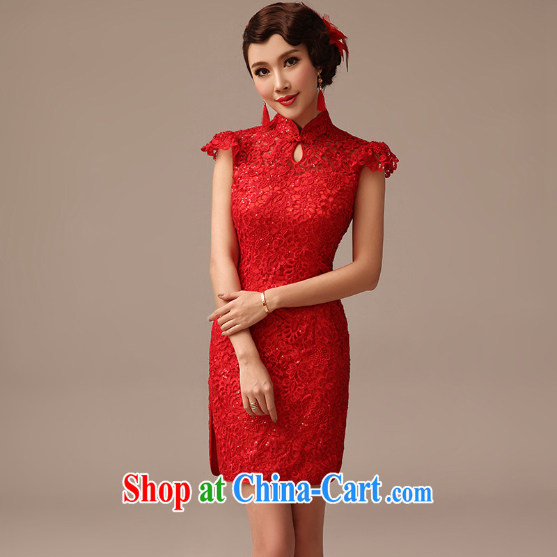 2015 new marriages, short cheongsam toast service, lace wedding dresses summer red XL