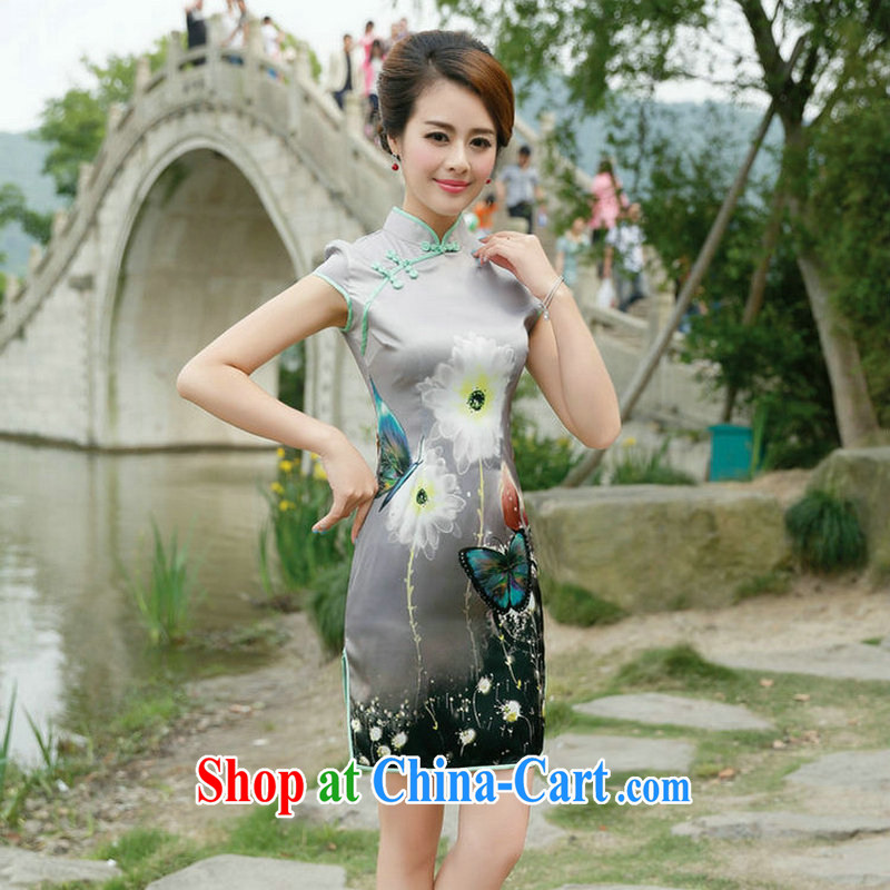 2015 summer new Chinese Ethnic Wind Manchu retro fashion, Beauty dress short-sleeve side on the truck dresses gray butterfly XL
