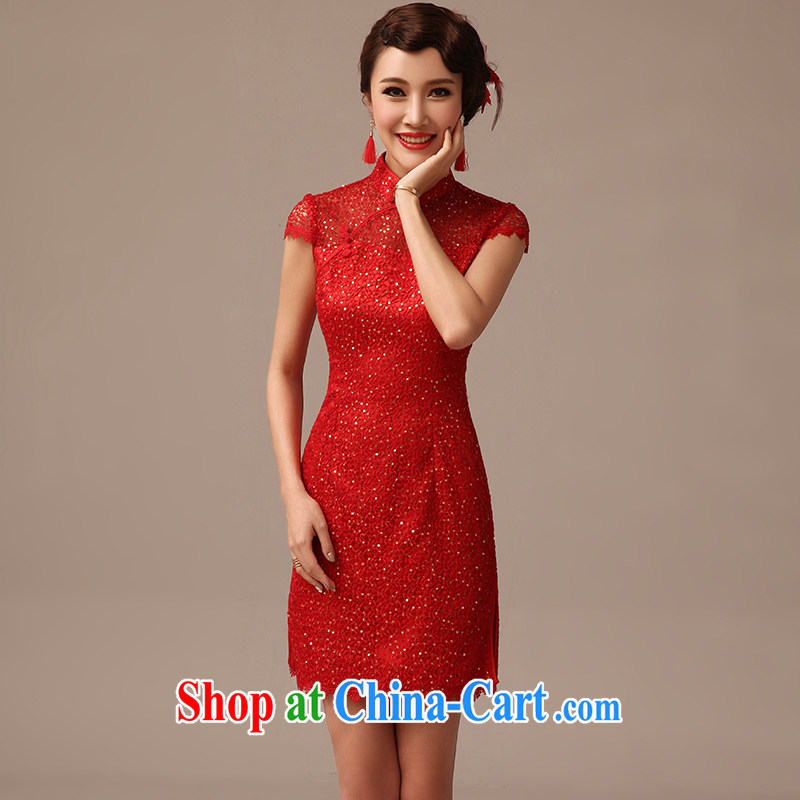 2015 new bridal wedding dresses short red bridal wedding dresses serving toast summer red XL