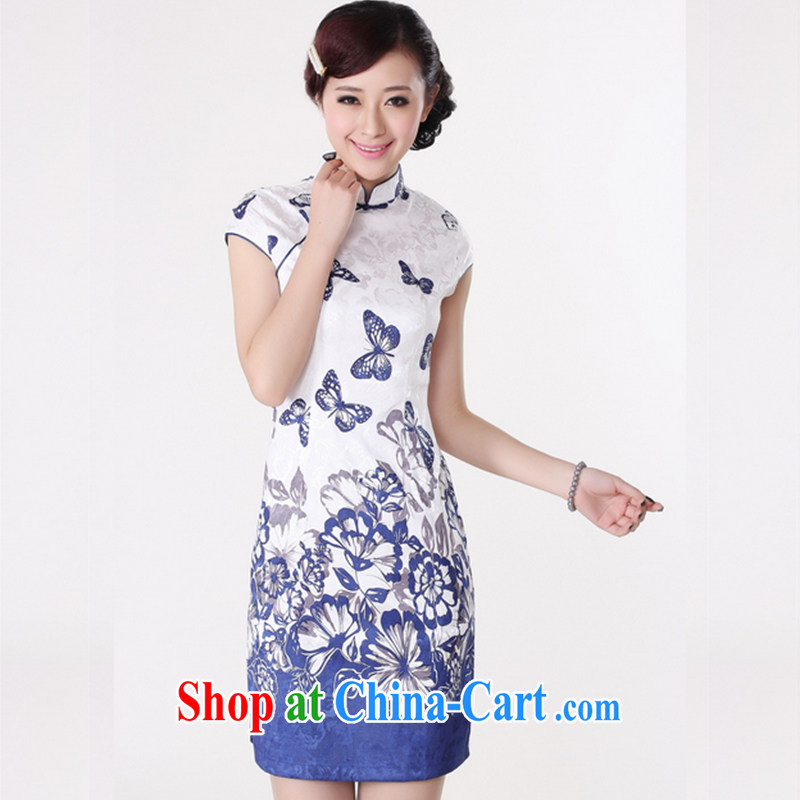 Take the 2014 summer new stylish female Chinese improved, for a tight cotton hand-painted retro short cheongsam picture color 38/XL