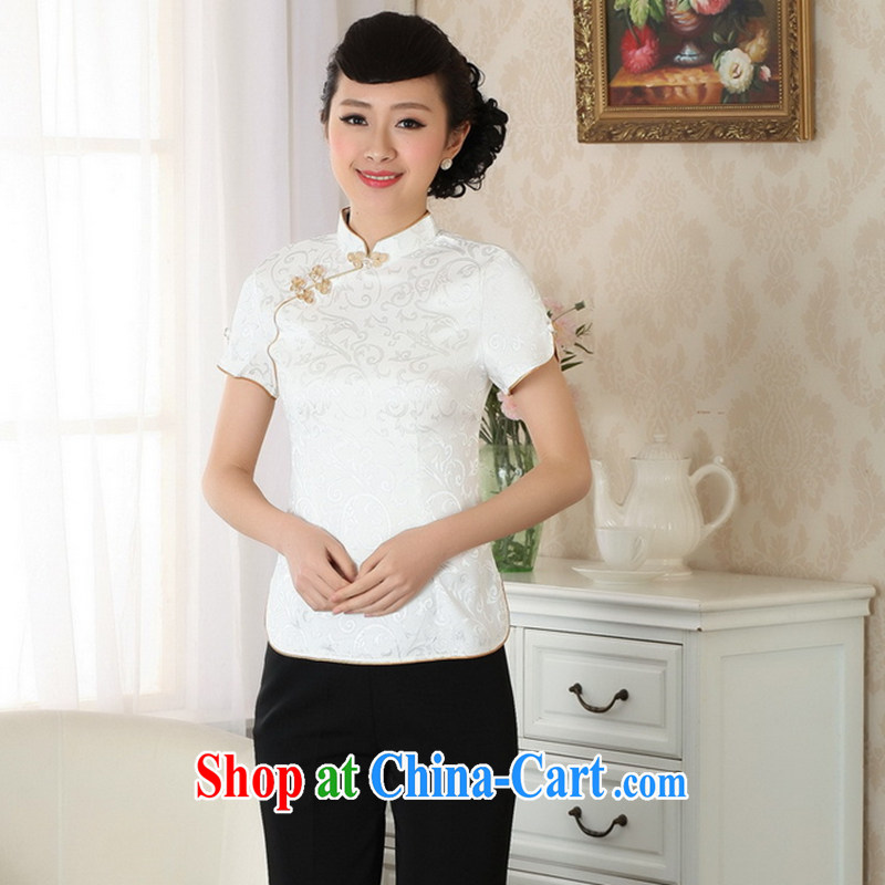 Take the 2014 summer new products, for improved cheongsam Chinese Chinese Tang Women's clothes is a tight T-shirt pure cotton Tang replacing the Snap white XL
