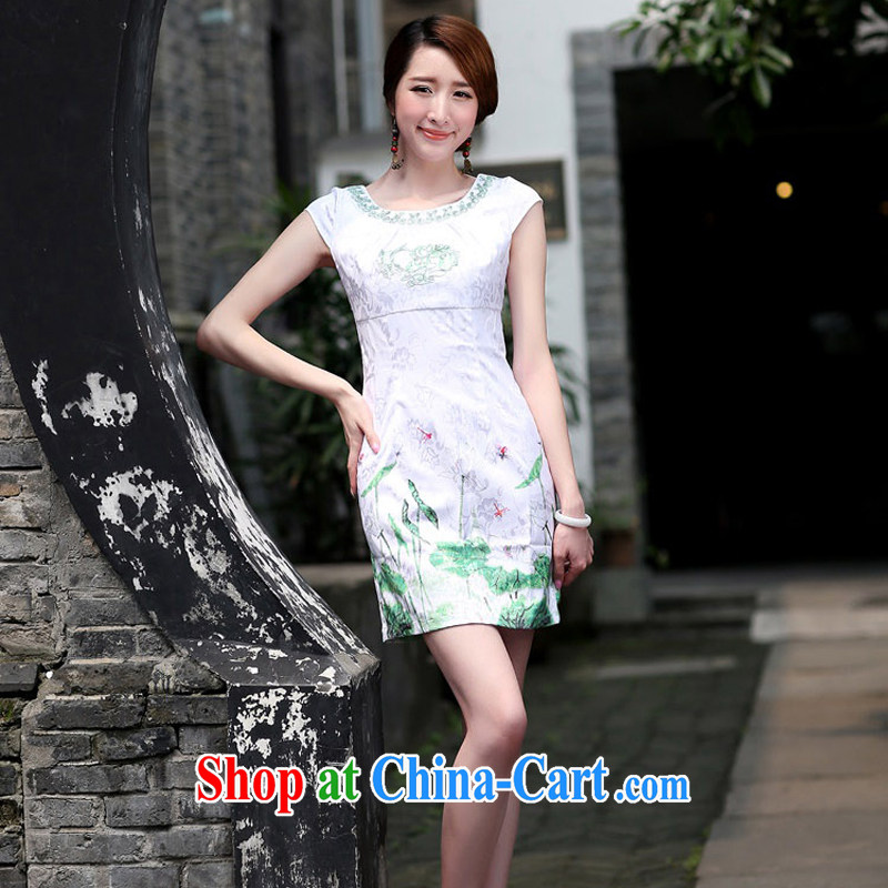 The Concubine Shu Diane 2015 new short-sleeved qipao dresses summer female beauty antique dresses package and short skirts green XXL
