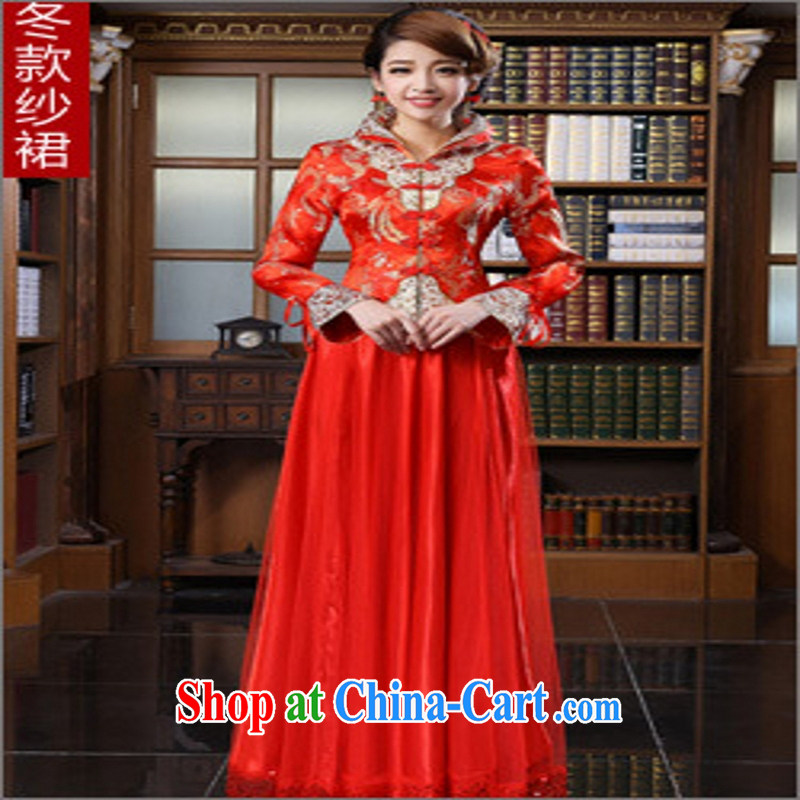 2014 new spring and summer red bridal wedding dress long, antique dresses toast serving the code winter long, customer service to size up to do not support returned.