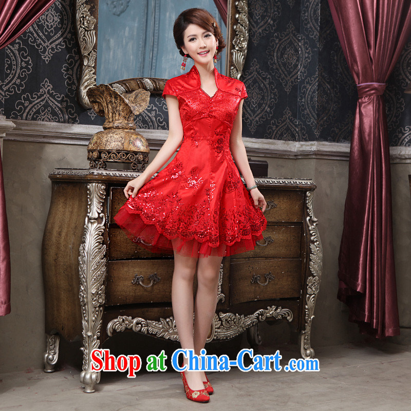 2015 spring and summer new bridal wedding dresses cheongsam dress retro improved stylish wedding dress uniform toast short red XL can be returned.