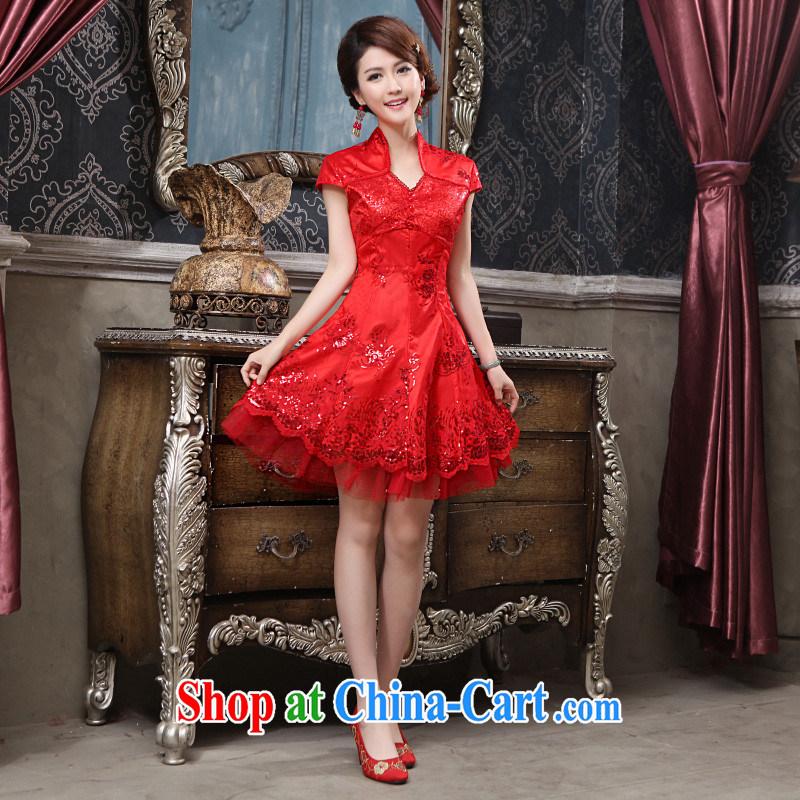 2015 spring and summer new bridal wedding dresses cheongsam dress retro improved stylish wedding dress uniform toast short red XL can be returned.